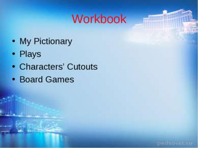 Workbook My Pictionary Plays Characters' Cutouts Board Games
