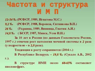 12-54 ‰ (РСФСР, 1989, Игнатова М.С.) 9,2 ‰ (РСФСР, 1988, Воронеж, Ситникова В...