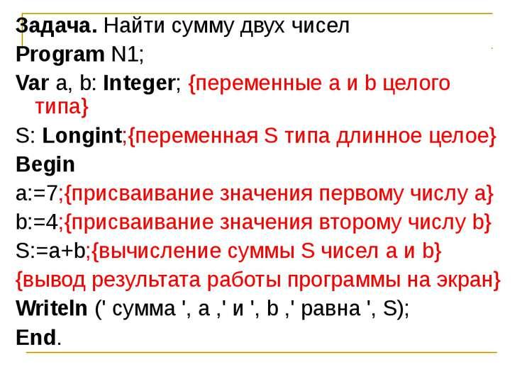 Задача. Найти сумму двух чисел Program N1; Var а, b: Integer; {переменные а и...