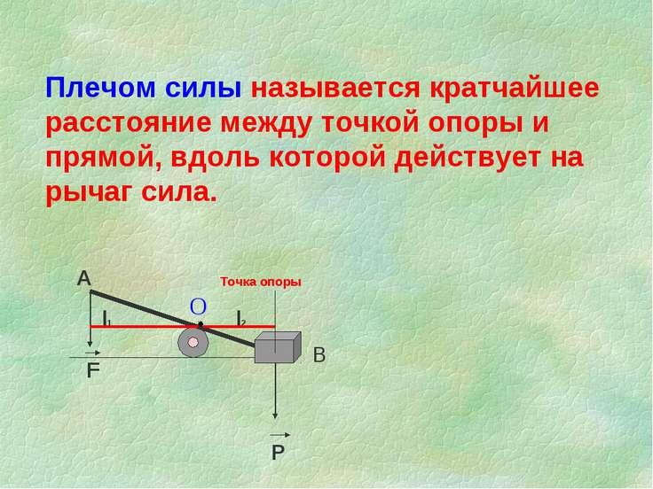 Плечом силы называется кратчайшее расстояние между точкой опоры и прямой, вдо...