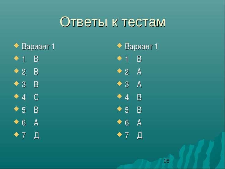 Ответы к тестам Вариант 1 1 В 2 В 3 В 4 С 5 В 6 А 7 Д Вариант 1 1 В 2 А 3 А 4...