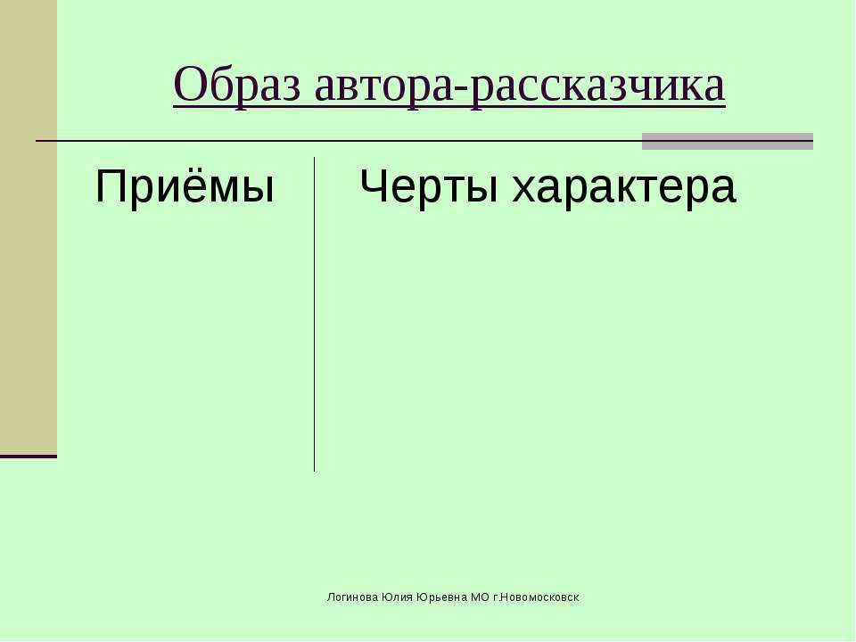Приёмы Черты характера Образ автора-рассказчика Логинова Юлия Юрьевна МО г.Но...