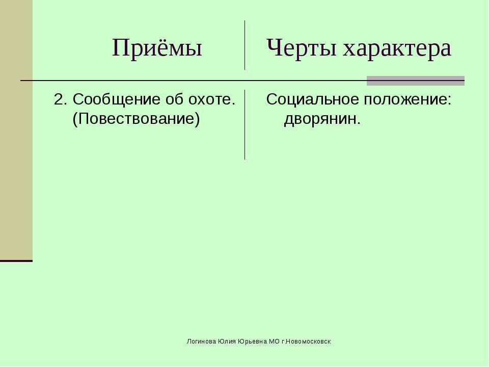 Приёмы Черты характера 2. Сообщение об охоте. (Повествование) Социальное поло...