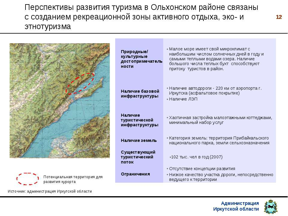 * Перспективы развития туризма в Ольхонском районе связаны с созданием рекреа...