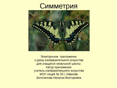Симметрия Боголапова Наталья Викторовна Электронное приложение к уроку изобра...