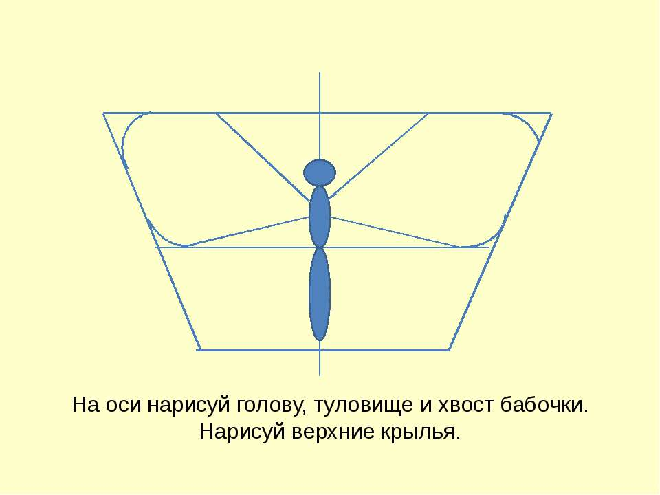 На оси нарисуй голову, туловище и хвост бабочки. Нарисуй верхние крылья. Бого...