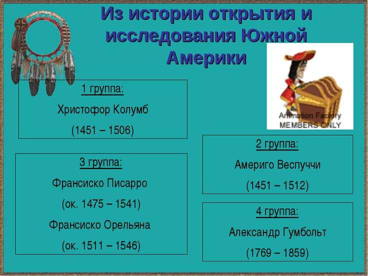 Из истории открытия и исследования Южной Америки 1 группа: Христофор Колумб (...