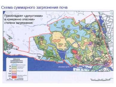 Схема суммарного загрязнения почв Преобладают «допустимая» и «умеренно опасна...