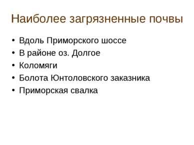 Наиболее загрязненные почвы Вдоль Приморского шоссе В районе оз. Долгое Колом...