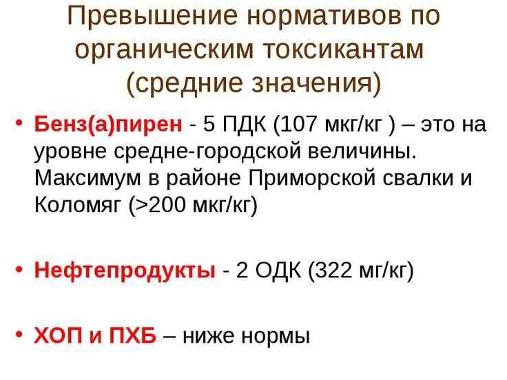 Превышение нормативов по органическим токсикантам (средние значения) Бенз(а)п...