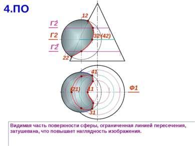 Видимая часть поверхности сферы, ограниченная линией пересечения, затушевана,...