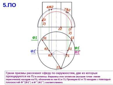 31 11 Грани призмы рассекают сферу по окружностям, две из которых проецируютс...
