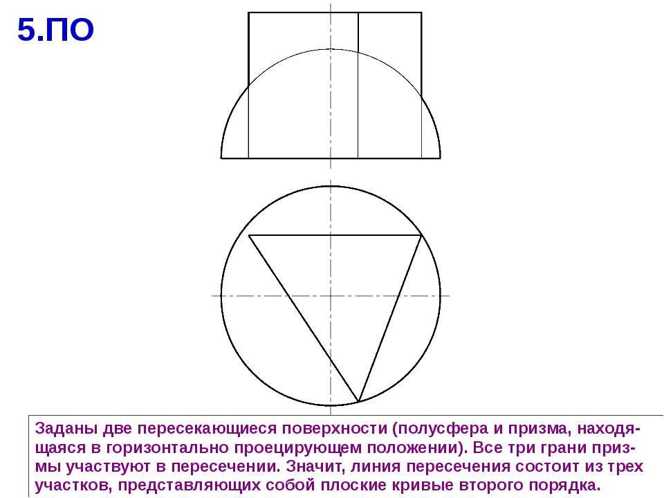 Заданы две пересекающиеся поверхности (полусфера и призма, находя-щаяся в гор...