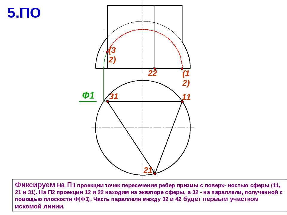 Фиксируем на П1 проекции точек пересечения ребер призмы с поверх- ностью сфер...