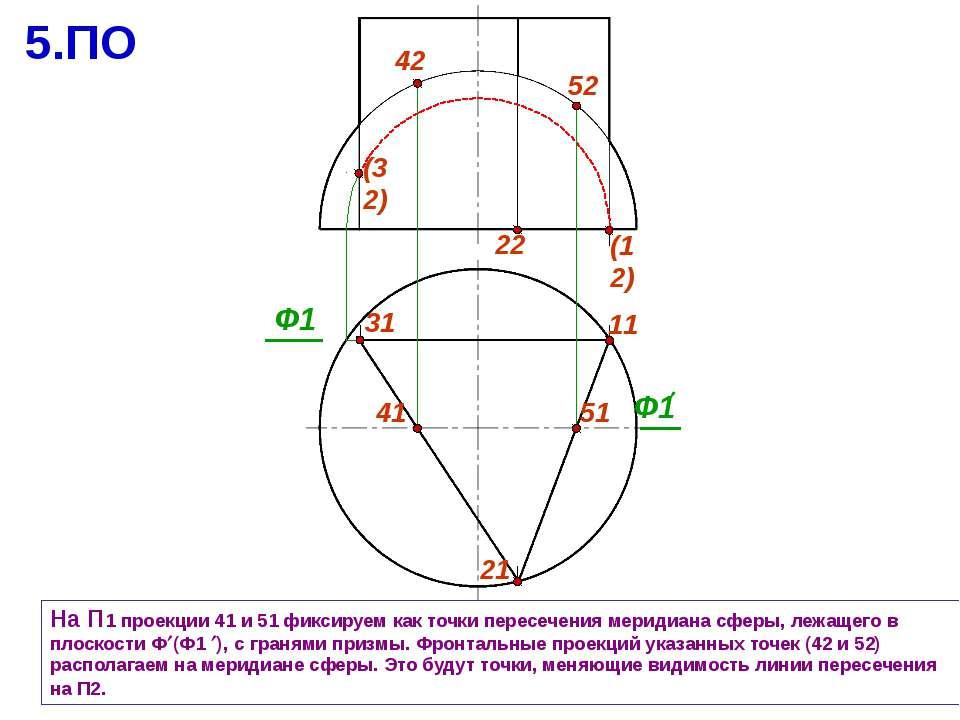 31 11 На П1 проекции 41 и 51 фиксируем как точки пересечения меридиана сферы,...