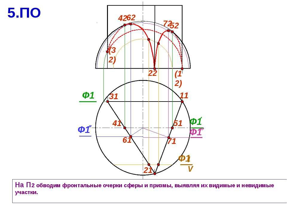 22 31 На П2 обводим фронтальные очерки сферы и призмы, выявляя их видимые и н...