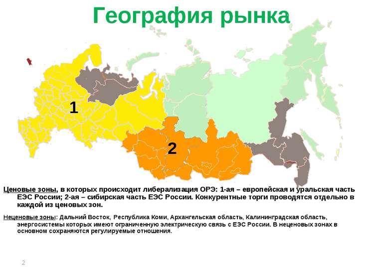 * География рынка Ценовые зоны, в которых происходит либерализация ОРЭ: 1-ая ...
