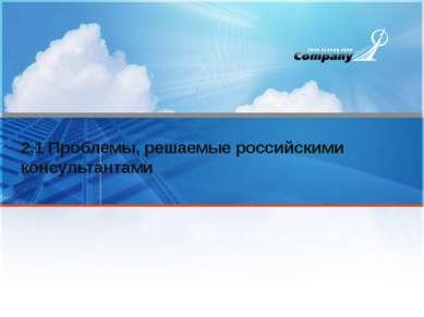 2.1 Проблемы, решаемые российскими консультантами