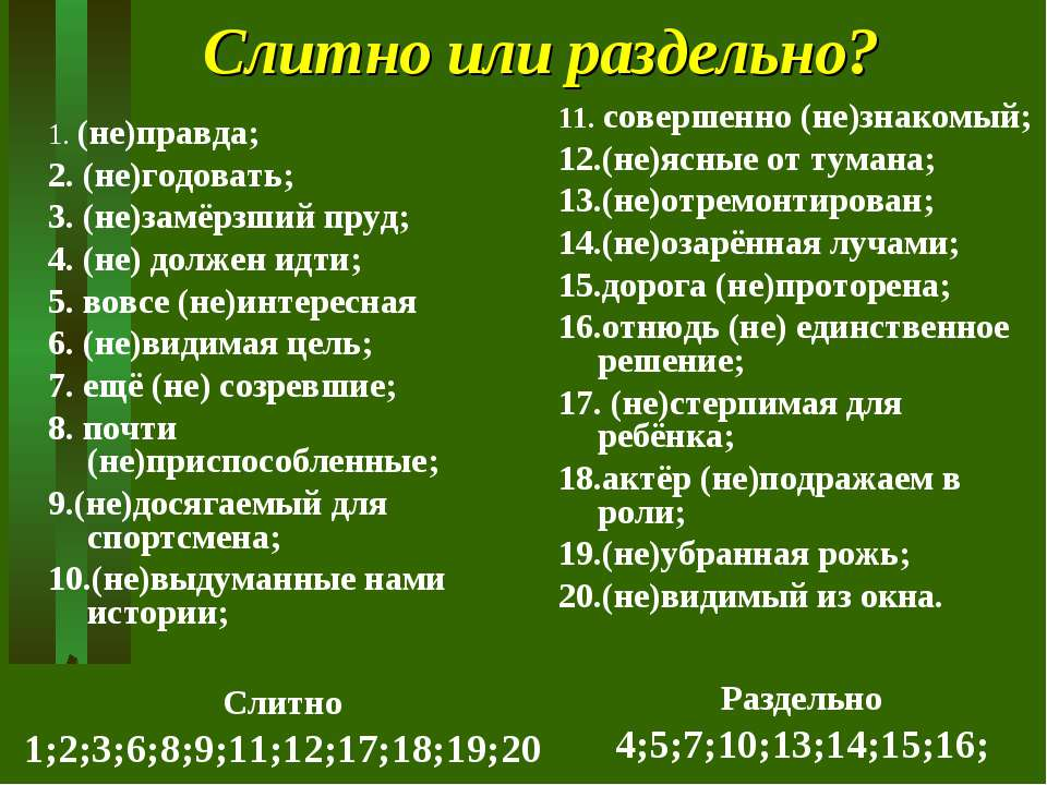 Слитно или раздельно? 1. (не)правда; 2. (не)годовать; 3. (не)замёрзший пруд; ...