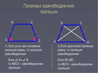 Признаки равнобедренной трапеции А B А D C C B D Если углы при основании трап...
