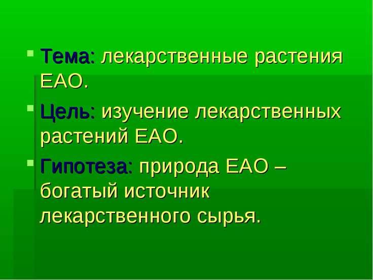 Тема: лекарственные растения ЕАО. Цель: изучение лекарственных растений ЕАО. ...