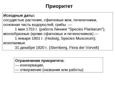 Исходные даты: сосудистые растения, сфагновые мхи, печеночники, основная част...