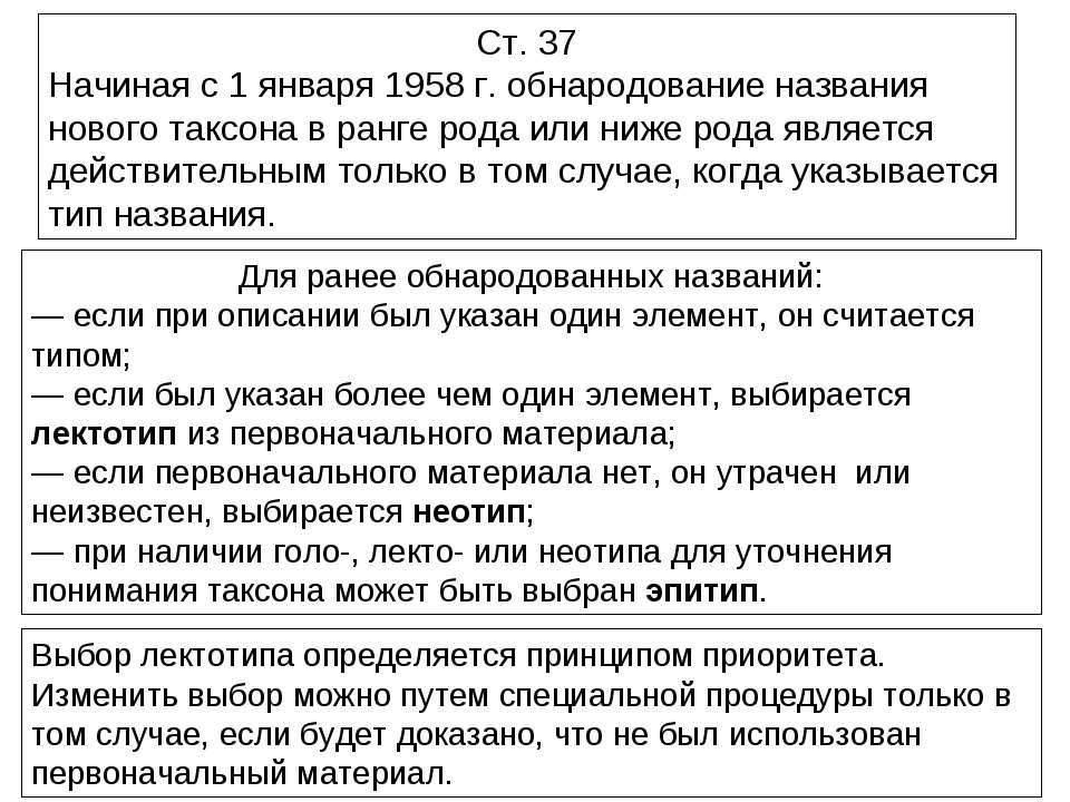 Ст. 37 Начиная с 1 января 1958 г. обнародование названия нового таксона в ран...