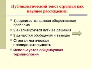 Публицистический текст строится как научное рассуждение: 1)выдвигается важная...