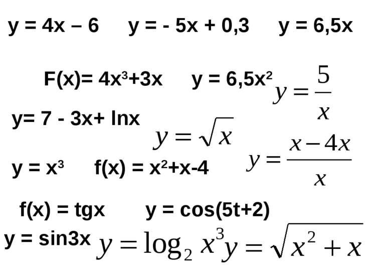 у = 4х – 6 у = - 5х + 0,3 у = 6,5х F(х)= 4х3+3х у = 6,5х2 у= 7 - 3х+ lnx у = ...