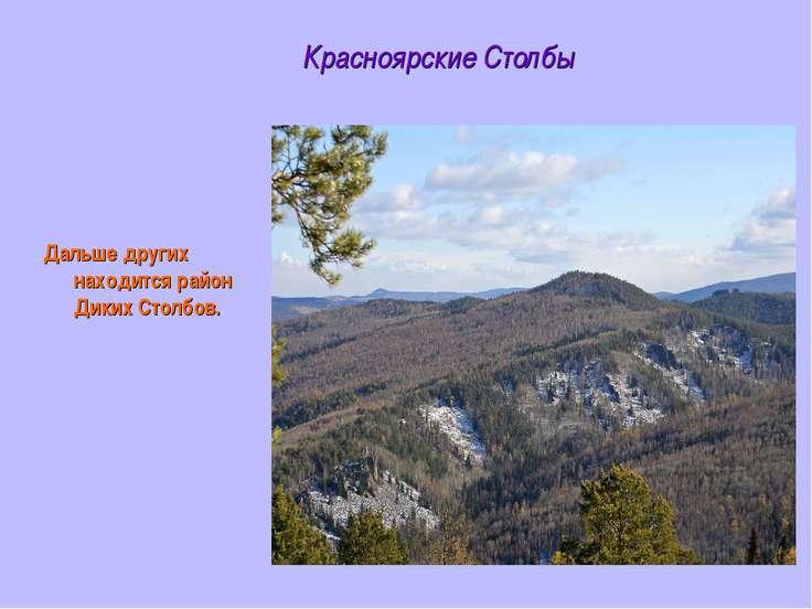 Красноярские Столбы Дальше других находится район Диких Столбов.