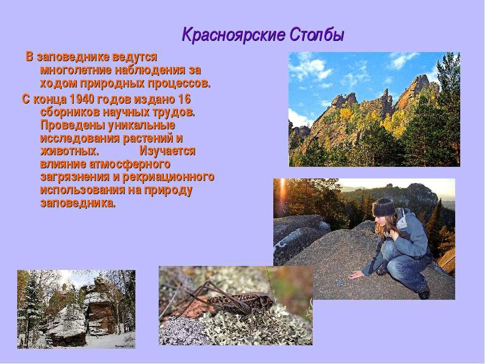 Красноярские Столбы В заповеднике ведутся многолетние наблюдения за ходом при...