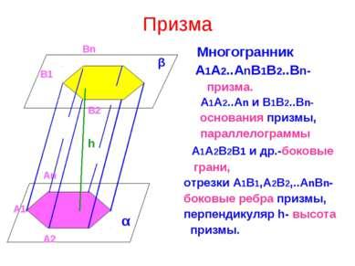 Призма Многогранник А1А2..АnB1B2..Bn- призма. А1А2..Аn и В1В2..Вn- основания ...