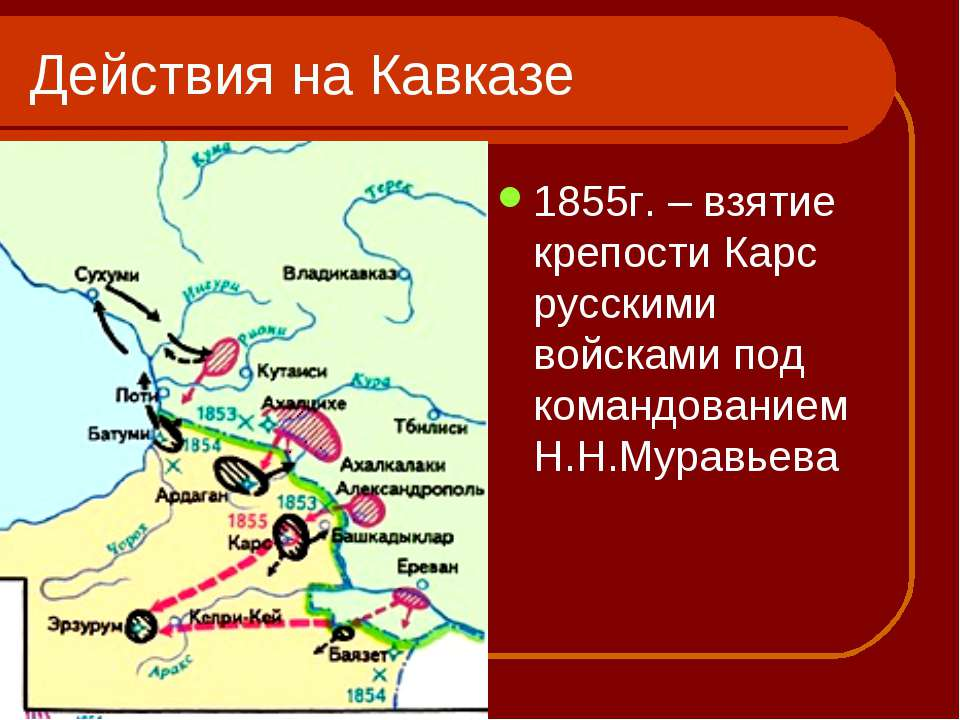 Действия на Кавказе 1855г. – взятие крепости Карс русскими войсками под коман...