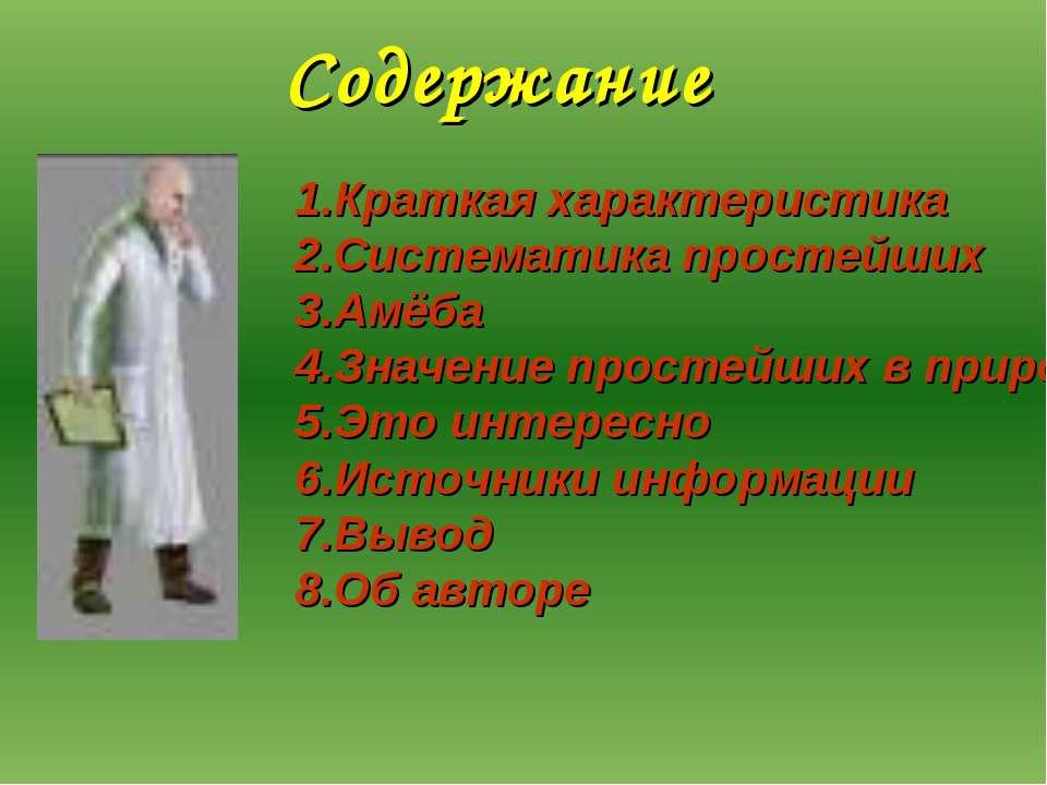 Содержание Краткая характеристика Систематика простейших Амёба Значение прост...