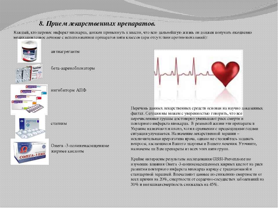 8. Прием лекарственных препаратов. Каждый, кто перенес инфаркт миокарда, долж...