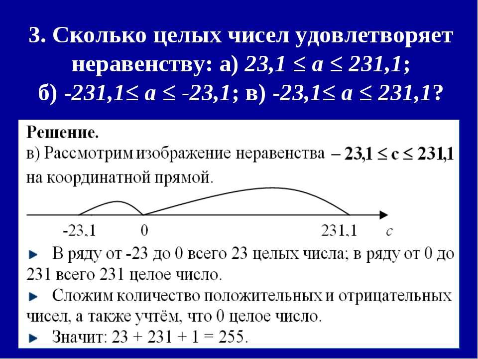 3. Сколько целых чисел удовлетворяет неравенству: а) 23,1 ≤ a ≤ 231,1; б) -23...