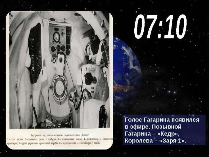 Голос Гагарина появился в эфире. Позывной Гагарина – «Кедр», Королева – «Заря...
