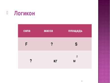 Логикон * сила масса площадь F ? S ? кг 2 м
