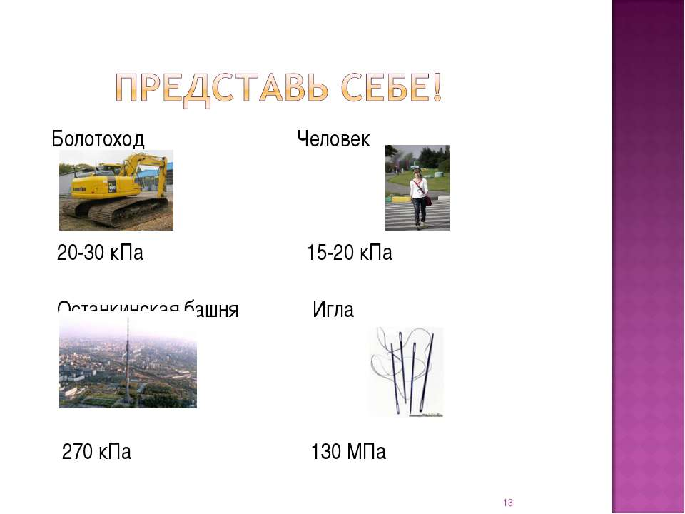 Болотоход Человек 20-30 кПа 15-20 кПа Останкинская башня Игла 270 кПа 130 МПа *