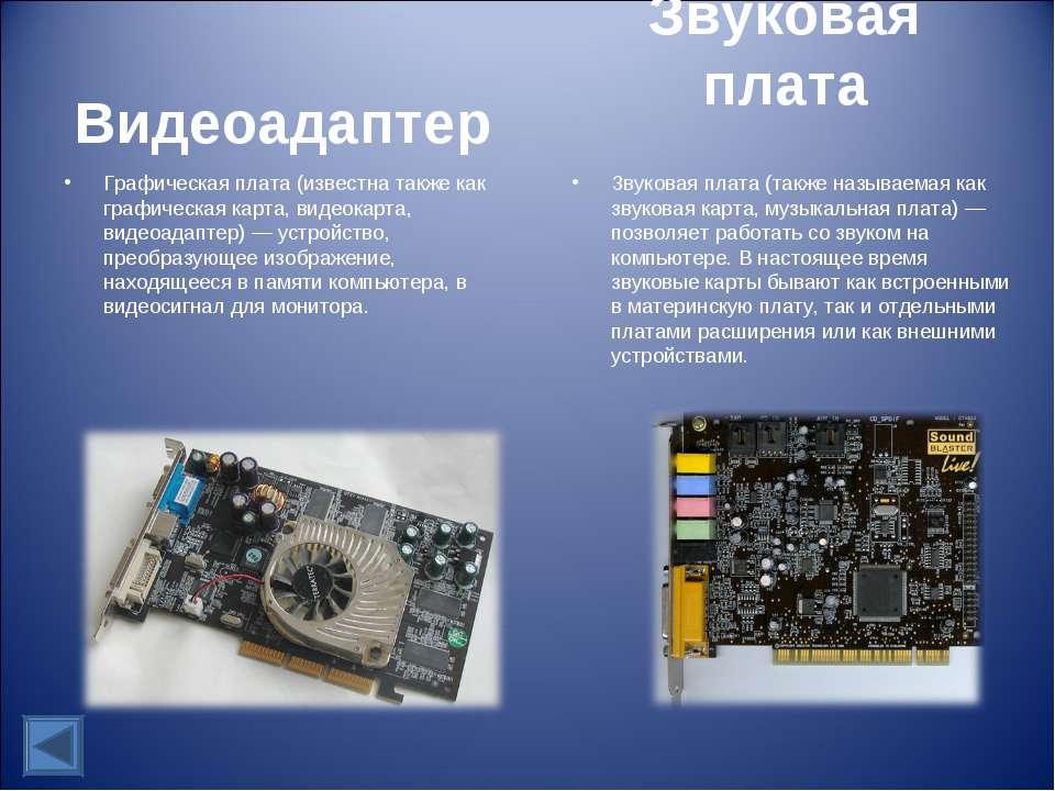 Видеоадаптер Графическая плата (известна также как графическая карта, видеока...