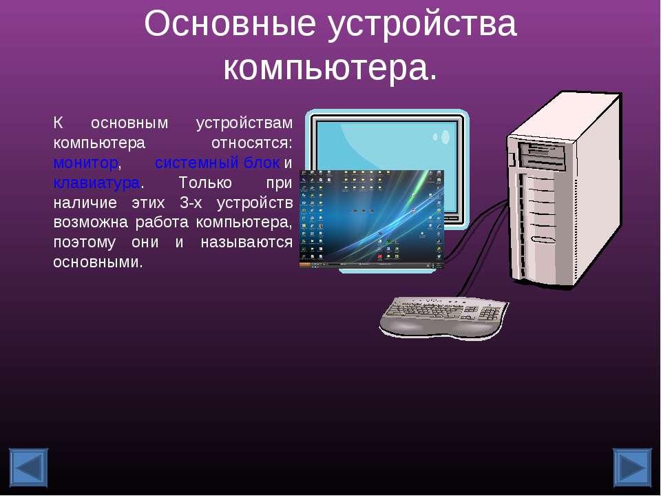 Основные устройства компьютера. К основным устройствам компьютера относятся: ...