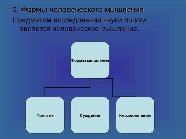 2. Формы человеческого мышления Предметом исследования науки логики является ...