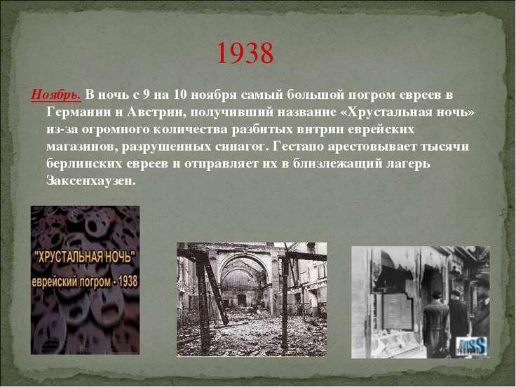 1938 Ноябрь. В ночь с 9 на 10 ноября самый большой погром евреев в Германии и...