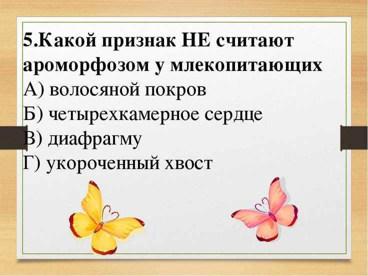 6. Укажите пример ароморфоза А) уплощение тела у донных рыб Б) возникновение ...