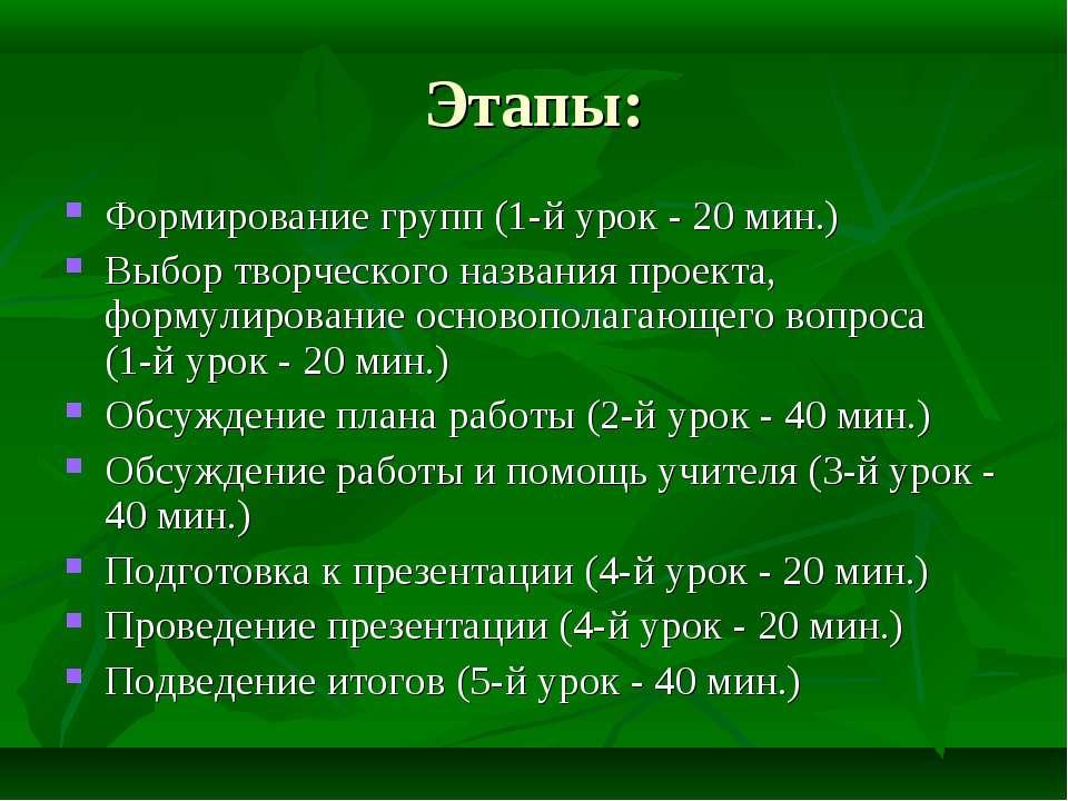 Этапы: Формирование групп (1-й урок - 20 мин.) Выбор творческого названия про...