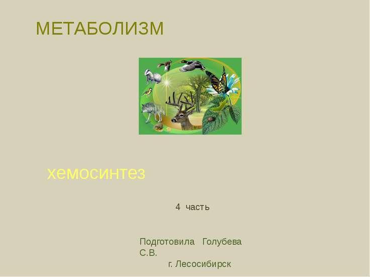 МЕТАБОЛИЗМ хемосинтез Подготовила Голубева С.В. г. Лесосибирск 4 часть