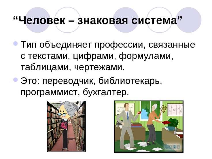 """""""Человек – знаковая система"""" Тип объединяет профессии, связанные с текстами, ..."""