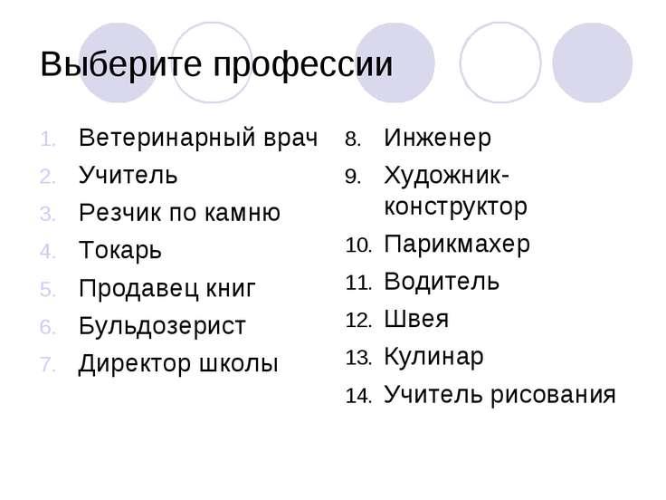 Выберите профессии Ветеринарный врач Учитель Резчик по камню Токарь Продавец ...