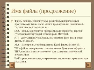 Имя файла (продолжение) Файлы данных, используемые различными прикладными про...