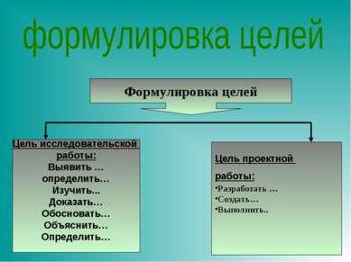 Формулировка целей Цель исследовательской работы: Выявить … определить… Изучи...